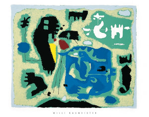 "Composition in Green, 1954 by Willi Baumeister 28 X 36"" (Silkscreen / Sérigraphie)"