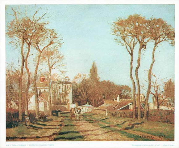 Entrance to a Village, 1872 by Pissarro - 10 X 12 Inches - Fine Art Poster.