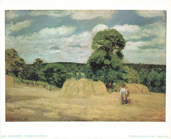 The Harvest at Montfoucault, 1876 by Pissarro - 10 X 12 Inches - Fine Art Poster.