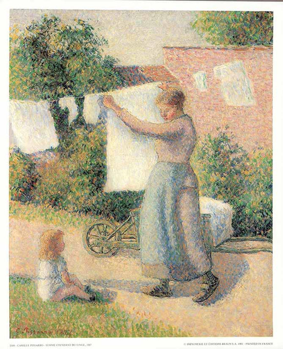 The Lye-Washer, 1887 by Pissarro - 10 X 12 Inches - Fine Art Poster.