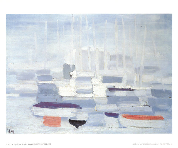 Boats in the Harbour, 1955 by Nicolas De Stael - 10 X 12 Inches - Fine Art Poster.