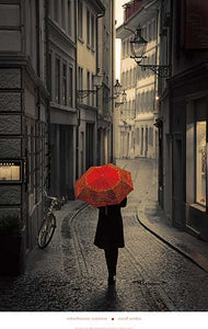 "Red Rain by Stefano Corso - 24 X 36"" - Fine Art Poster."