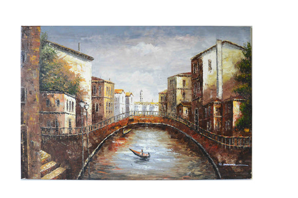 Boat Under the Canal - (Oil Painting on Canvas-Ready to Hang)