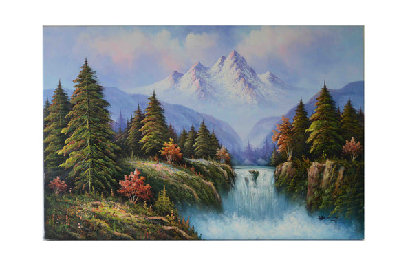 View of the Mountain - (Oil Painting on Canvas-Ready to Hang)