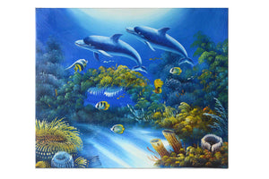 "Dolphins in the Sea - (Oil Painting on Canvas-Ready to Hang) by Alfia - 20 X 24"" - Fine Art Poster."
