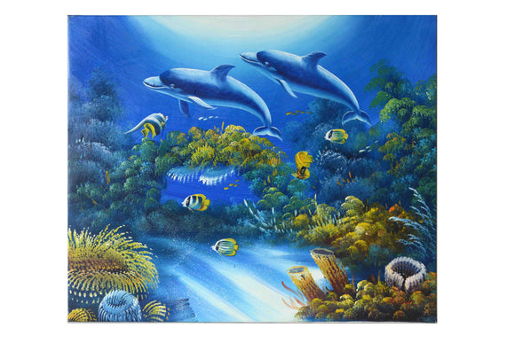 Dolphins in the Sea - (Oil Painting on Canvas-Ready to Hang) by Alfia - 20 X 24