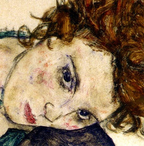 The Artist's Wife (detail), 1917 by Egon Schiele - 6 X 6 Inches (Greeting Card)