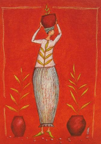 Woman with plant by Gaelle Boissonnard - 5 X 7 Inches (Greeting Card)