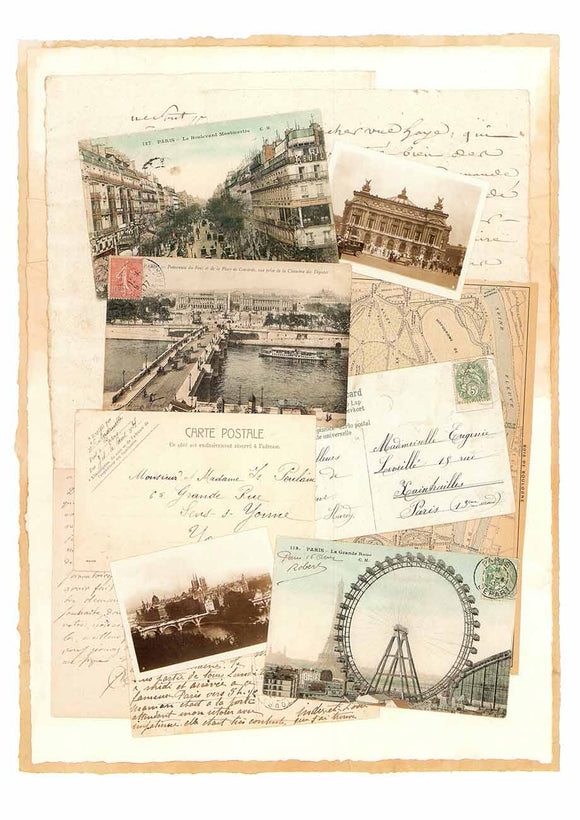 La Grande Roue, Paris (Mixed-Media Collage) by Susana England - 13 X 18