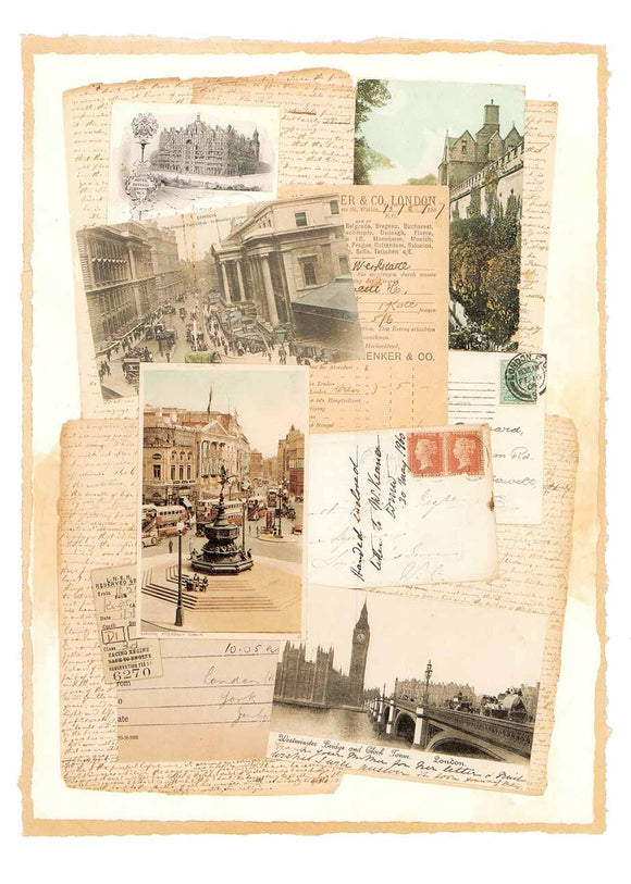 Street of London (Mixed-Media Collage) by Susana England - 13 X 18