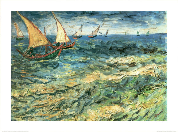 Seascape at Saintes Maries, 1888 by Van Gogh - 24 X 32 Inches (Poster)