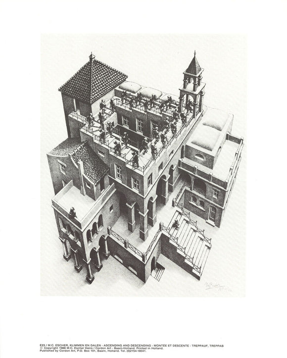 Ascending and Descending, 1988 by M. C. Escher - 10 X 12
