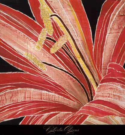 Red Amaryllis by Roberta Ahrens - 24 X 24 Inches - Fine Art Poster.