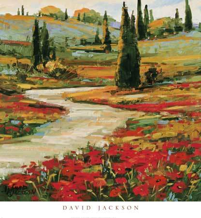 Hills in Bloom II by David Jackson - 24 X 24 Inches - Fine Art Poster.