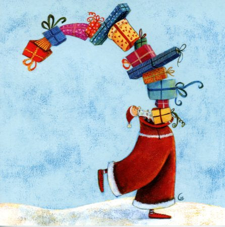 Santa has the Load by Marie Cardouat - 6 X 6 Inches (Greeting Card)