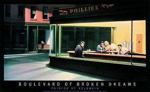 "Boulevard of the Broken Dreams ""Nighthawks"" by Gottfried Helnwein - 22 X 36 inches (Poster)"