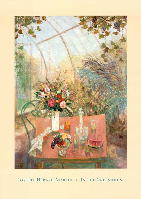 In the Greenhouse by Josette Hérard-Marlin - 26 X 36