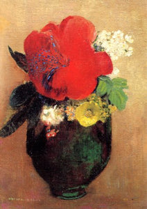 The Red Poppy, 1906 by Odilon Redon - 5 X 7 Inches (Greeting Card)