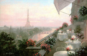 "Dinner on the Terrace by Christa Kieffer - 24 X 36"" - Fine Art Poster."