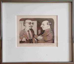 "Out of Court Settlement by Charles Bragg (Framed Lithograph Numbered & Signed) XXX/LXXV - 11 X 12"" - Fine Art Poster."