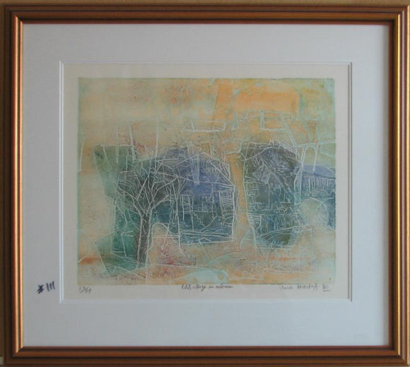 Petit Village En Automne (Framed Lithograph Numbered & Signed) 63/99