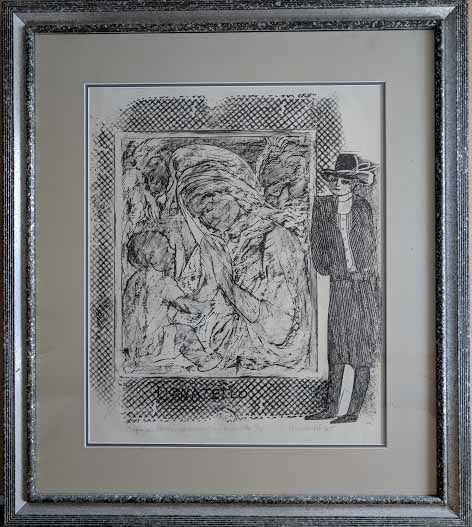 Chopin, Au Louvre, Admirant un Donatello, 1965 (Gray Wood Frame with Double Matte - Lithograph Numbered & Signed) 10/14
