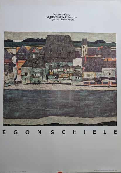 Houses on the River: The Old Town, 1914 by Egon Schiele - 40 X 55