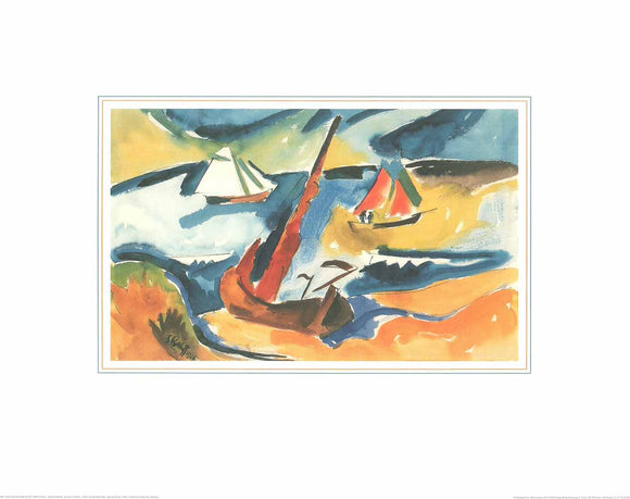 Fishing Boats on the Baltic Sea, 1922 by Karl Schmidt-Rottluff - 16 X 20