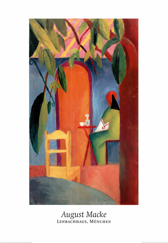 Turkish Cafe II, 1914 by August Macke - 28 X 40 Inches - Fine Art Poster.
