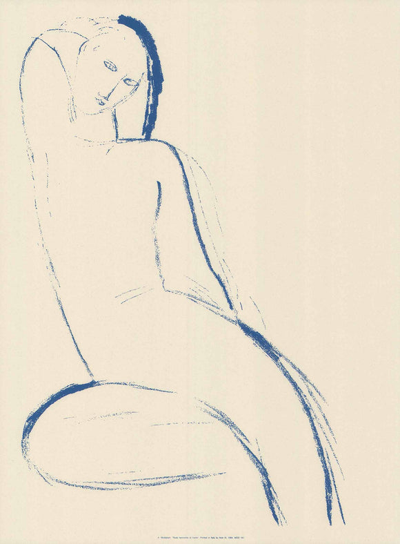 Female Nude in Front by Modigliani - 24 X 32 Inches - (Silkscreen / Sérigraphie)