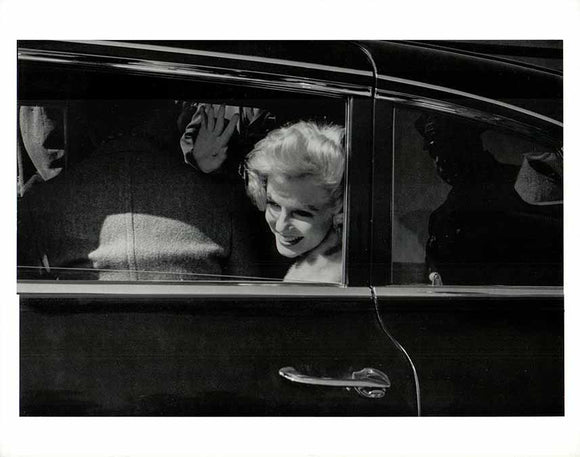 Marilyn Monroe in Cadillac Limousine on Drive from Airport to Hotel, Chicago, 1959 - 10 X 12 Inches - Fine Art Poster.