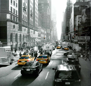 "Sunset on Broadway, New York by Dominique Obadia - 27 X 27"" - Fine Art Poster."