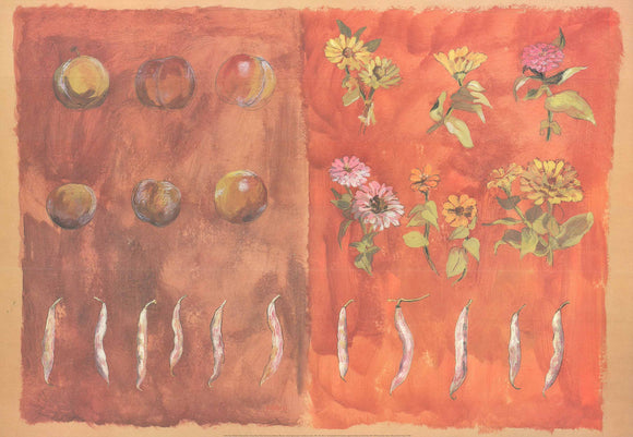 Zinnias, Beans, Plums, 1995 by Valerie Roy - 28 X 40 Inches - Fine Art Poster.