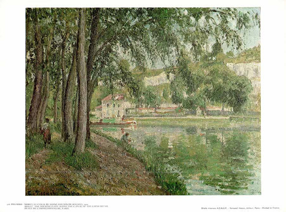 Moret. The Touring-Path along the Canal of the Loing River, 1902 by Pissarro - 10 X 12 Inches - Fine Art Poster.