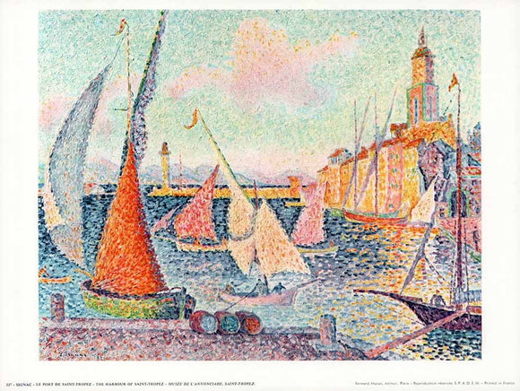 The Harbour of Saint-Tropez by Paul Signac - 10 X 12 Inches - Fine Art Poster.