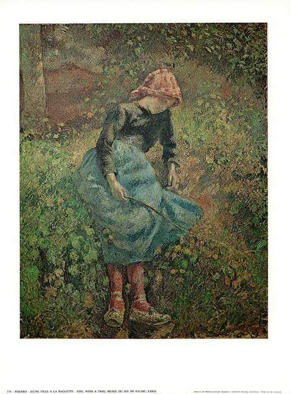 Girl with a Twig by Pissarro - 10 X 12 Inches - Fine Art Poster.