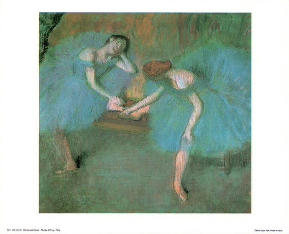 Dancers in Blue by Edgar Degas - 10 X 12 Inches - Fine Art Poster.