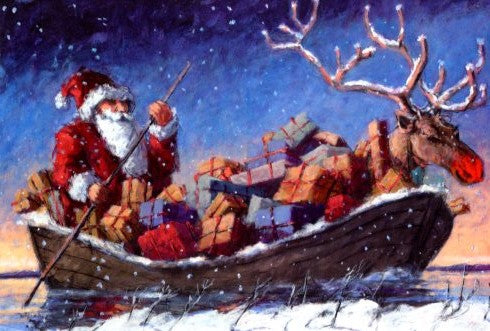 Christmas Boat by Peter Wever - 5 X 7 Inches (Greeting Card)