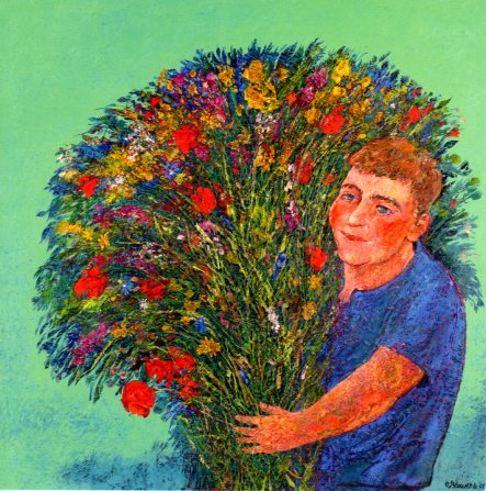 Boy with Wild Flower Bouquet, 2001 by Rob Brouwers - 6 X 6