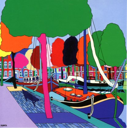 The Old Harbour, 2011 by Sophia Heeres - 6 X 6 Inches (Greeting Card)