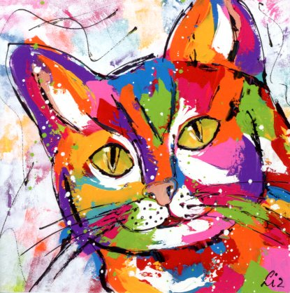 Tomcat, 2013 by Liz - 6 X 6 Inches (Greeting Card)