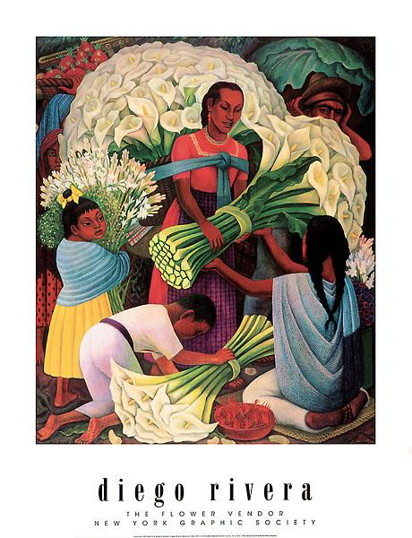 The Flower Vendor by Diego Rivera - 27 X 39
