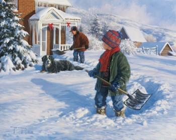 Shoveling Out, 1999 by Robert Duncan - 20 X 24 Inches (Giclee Canvas Ready to Hang)