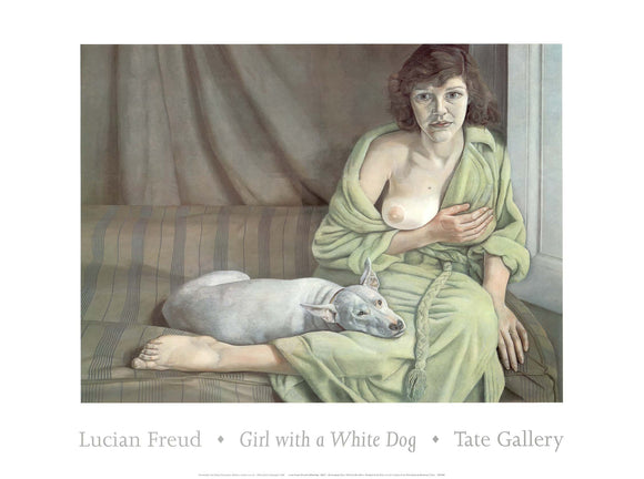 Girl with a White Dog by Lucian Freud - 24 X 32