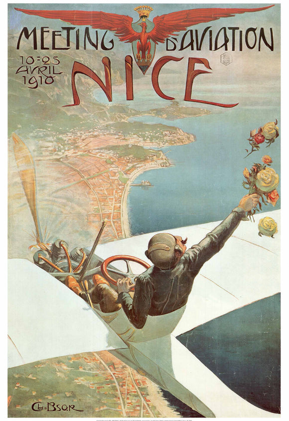 Meeting d'Aviation, Nice, 1910  by Charles Leonce Brosse - 28 X 40