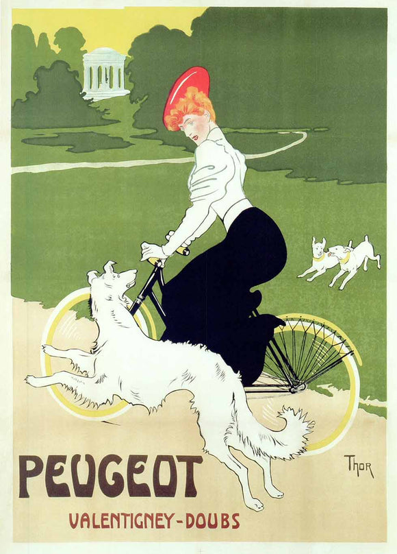 Poster advertising Peugeot bicycles, 1910 by Walter Thor - 20 X 28