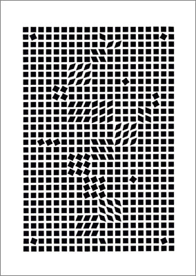 Tlinko, 1955 by Victor Vasarely - 28 X 40 Inches - (Silkscreen / Sérigraphie)