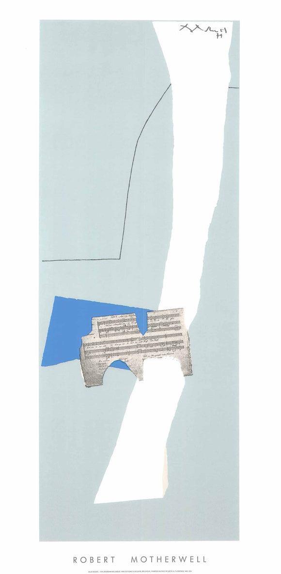 Blue Music, 1974 by Robert Motherwell - 20 X 40 Inches - (Silkscreen / Sérigraphie)