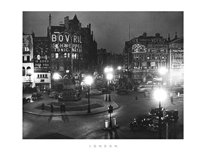 London - Piccadilly Circus at Night, 1949 by William Sumits - 24 X 32 Inches - Fine Art Poster.