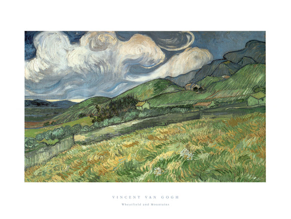 Wheatfield and Moutains by Vincent Van Gogh - 24 X 32 Inches - Fine Art Poster.